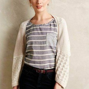 Anthropologie Ivory Patched Lace Bolero Sweater